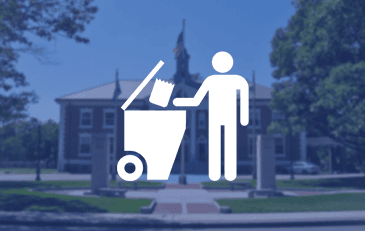 Graphic of person throwing trash into container