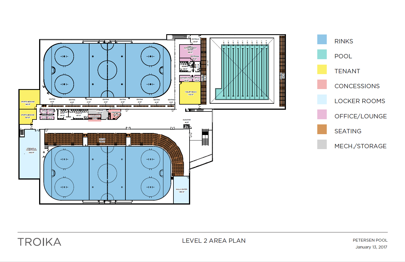 Second floor area plans for the Petersen Pool Facility