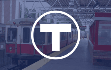 Braintree MBTA Logo with Braintree Train in background
