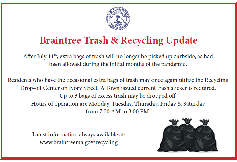 Braintree Recycling Center - Pandemic Updates