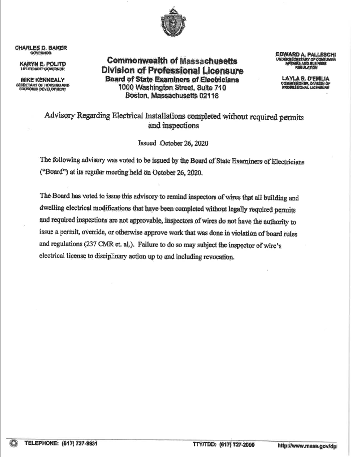 Advisory Regarding Electrical Installations Completed Without Required Permits and Inspections